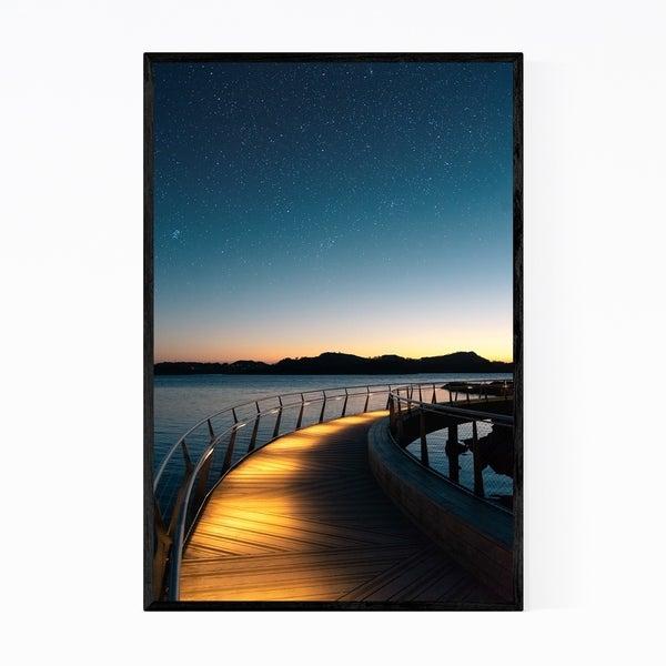Noir Gallery Stavanger Norway Bridge Night Sky Framed Art Print