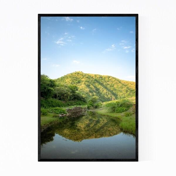 Noir Gallery Reflection Hill Nature Mountain Lake Framed Art Print