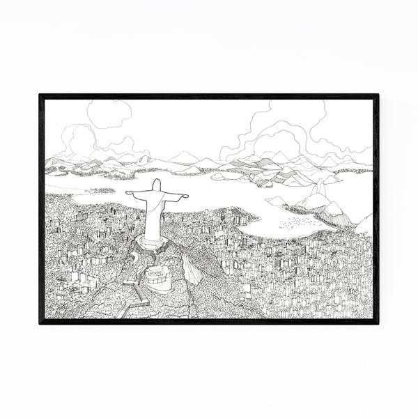 Noir Gallery Rio Brazil Skyline Drawing Framed Art Print