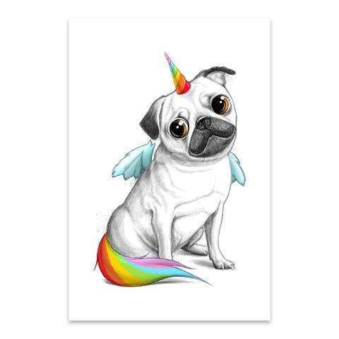Noir Gallery Pug Unicorn Funny Animal Humor Metal Wall Art Print