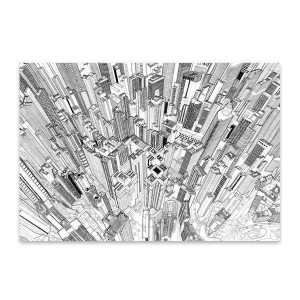 Noir Gallery Hong Kong Cityscape Skyline Drawing Metal Wall Art Print. Opens flyout.