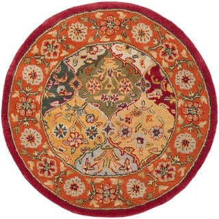 Safavieh Handmade Heritage Traditional Bakhtiari Multi/ Red Wool Rug (3'6 Round)