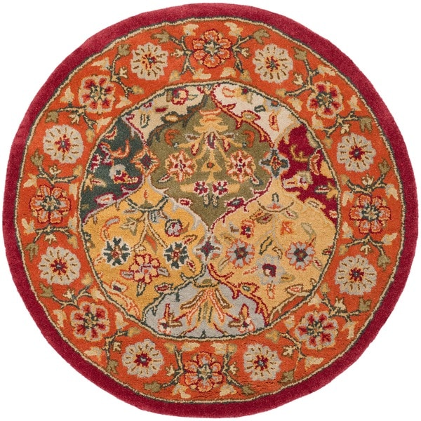 Safavieh Handmade Heritage Traditional Bakhtiari Multi/Red Wool Area Rug (6' Round)