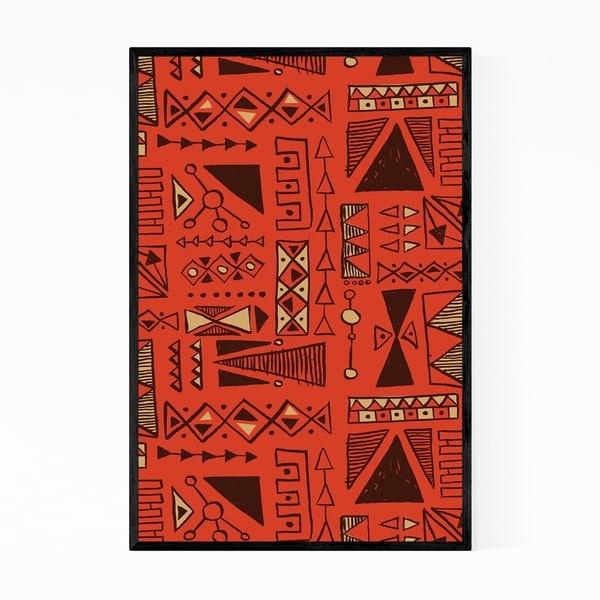 Noir Gallery Tiki Shapes Geometric Pattern Framed Art Print
