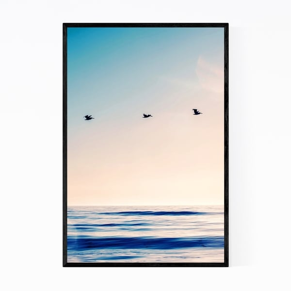 Noir Gallery Birds Beach Ocean Sunset Waves Framed Art Print
