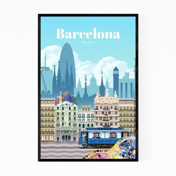 Noir Gallery Barcelona Spain Travel Poster Framed Art Print