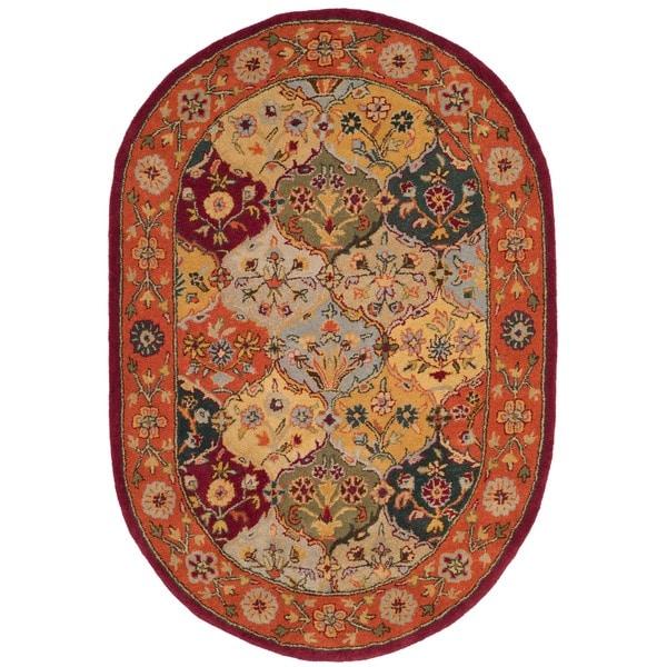 Safavieh Handmade Heritage Traditional Bakhtiari Multi/ Red Wool Rug (4'6 x 6'6 Oval) - Free ...