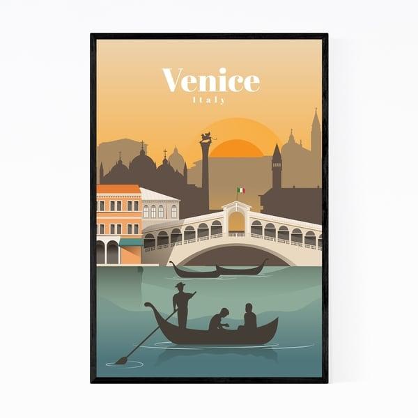 Noir Gallery Venice Italy Retro Travel Poster Framed Art Print