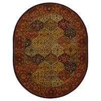 """Safavieh Handmade Heritage Traditional Bakhtiari Multi/Red Wool Rug - 7'6"""" x 9'6"""" oval"""