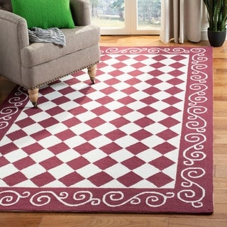 Shop Hand Tufted Red Border Wool Rug 8 X 10 6 Free