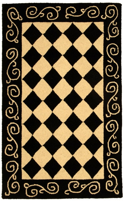 Safavieh Hand-hooked Diamond Black/ Ivory Wool Runner (2'6 x 4')