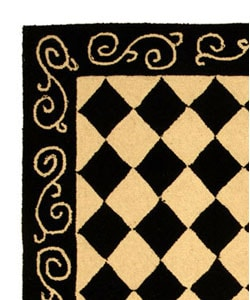 Safavieh Hand-hooked Diamond Black/ Ivory Wool Runner (2'6 x 4') - Thumbnail 2