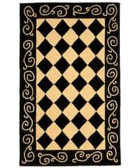 """Safavieh Hand-hooked Diamond Black/ Ivory Wool Runner - 2'6"""" x 4'"""