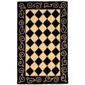 Safavieh Hand-hooked Diamond Black/ Ivory Wool Runner (2'6 x 4')