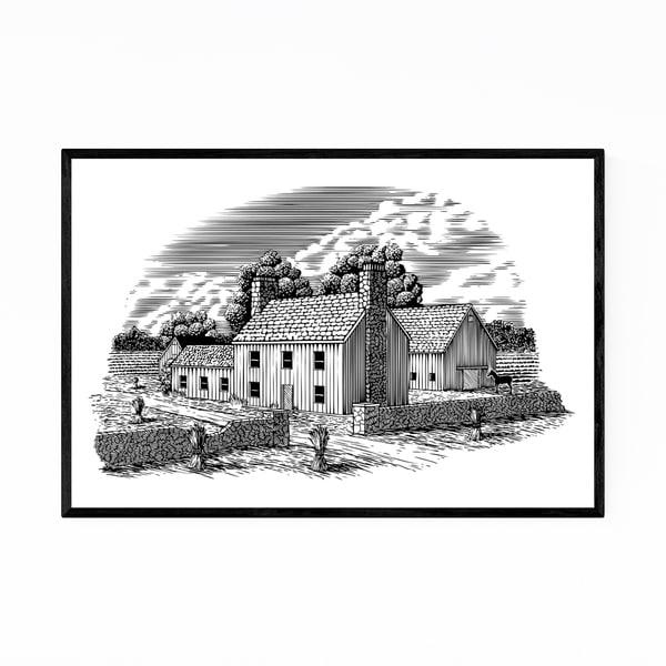 Noir Gallery Rural Farmhouse Barn Woodcut Framed Art Print