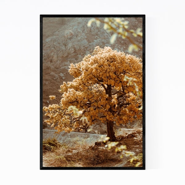 Noir Gallery Yellow Tree Mountains Nature Scenic Framed Art Print