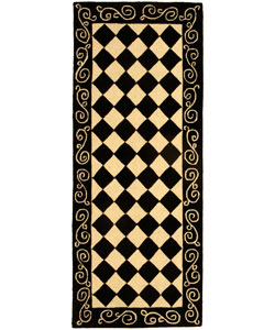 Safavieh Hand-hooked Diamond Black/ Ivory Wool Runner (2'6 x 6')