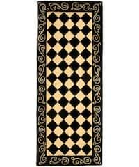 """Safavieh Hand-hooked Diamond Black/ Ivory Wool Runner - 2'6"""" x 6'"""