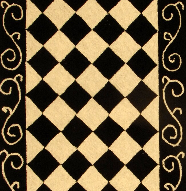 Safavieh Hand-hooked Diamond Black/ Ivory Wool Runner (2'6 x 8') - Thumbnail 1