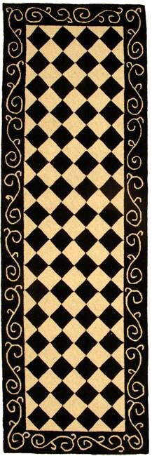 """Safavieh Hand-hooked Diamond Black/ Ivory Wool Runner (2'6 x 8') - 2'6"""" x 8'"""