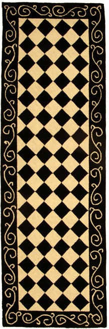 Safavieh Hand-hooked Diamond Black/ Ivory Wool Runner (2'6 x 10')