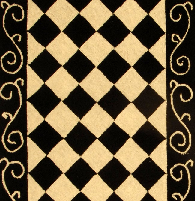 Safavieh Hand-hooked Diamond Black/ Ivory Wool Runner (2'6 x 12') - Thumbnail 1