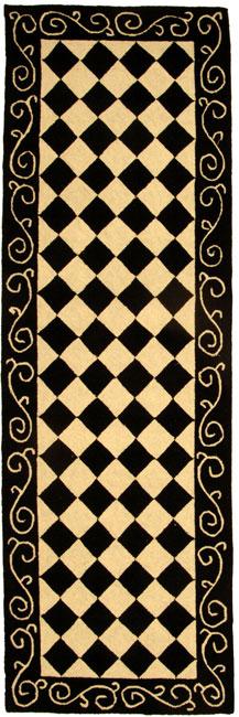 Safavieh Hand-hooked Diamond Black/ Ivory Wool Runner - 2'6 x 12'