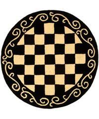 "Safavieh Hand-hooked Diamond Black/ Ivory Wool Rug - 5'6"" x 5'6"" round"