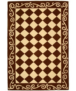 Safavieh Hand-hooked Diamond Brown/ Ivory Wool Rug (3'9 x 5'9)