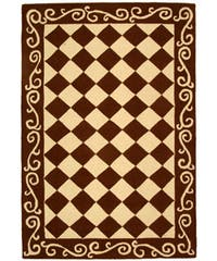 Safavieh Hand-hooked Diamond Brown/ Ivory Wool Rug - 3'9 x 5'9