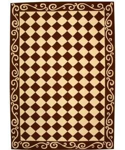 Safavieh Hand-hooked Diamond Brown/ Ivory Wool Rug (6' x 9')
