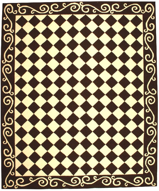 Safavieh Hand-hooked Diamond Brown/ Ivory Wool Rug - 7'9 x 9'9
