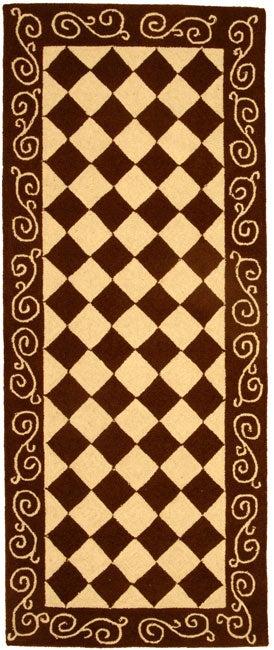 Safavieh Hand-hooked Diamond Brown/ Ivory Wool Runner (2'6 x 6')