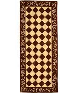 Safavieh Hand-hooked Diamond Brown/ Ivory Wool Runner (2'6 x 6')