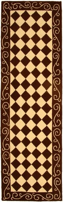 Safavieh Hand-hooked Diamond Brown/ Ivory Wool Runner (2'6 x 8')