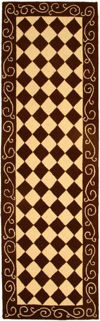 "Safavieh Hand-hooked Diamond Brown/ Ivory Wool Runner Rug - 2'6"" x 8'"