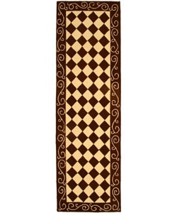 Safavieh Hand-hooked Diamond Brown/ Ivory Wool Runner (2'6 x 10')