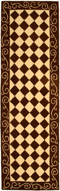 Shop Safavieh Hand Hooked Diamond Brown Ivory Wool Runner