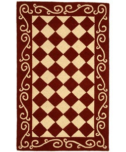 Safavieh Hand-hooked Diamond Burgundy/ Ivory Wool Rug (2'9 x 4'9)
