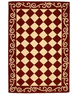 Safavieh Hand-hooked Diamond Burgundy/ Ivory Wool Rug (3'9 x 5'9)