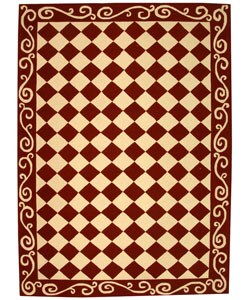 Safavieh Hand-hooked Diamond Burgundy/ Ivory Wool Rug (6' x 9')