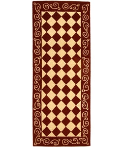 Safavieh Hand-hooked Diamond Burgundy/ Ivory Wool Runner (2 '6 x 6')