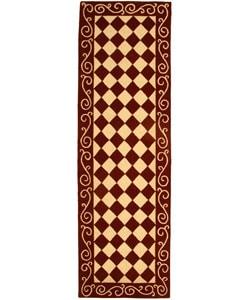 Safavieh Hand-hooked Diamond Burgundy/ Ivory Wool Runner (2' 6 x 8')
