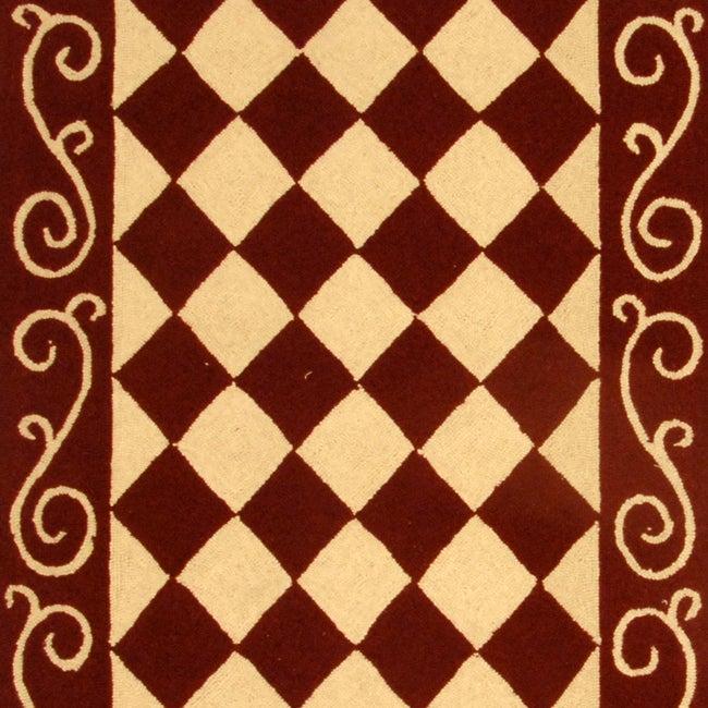 Safavieh Hand-hooked Diamond Burgundy/ Ivory Wool Runner (2'6 x 10') - Thumbnail 1
