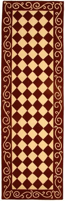 Safavieh Hand-hooked Diamond Burgundy/ Ivory Wool Runner (2'6 x 10')