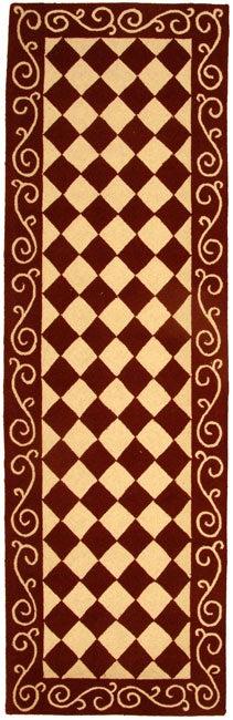 """Safavieh Hand-hooked Diamond Burgundy/ Ivory Wool Runner Rug - 2'6"""" x 10'"""