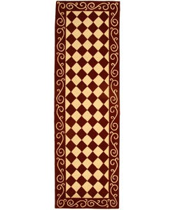 Safavieh Hand-hooked Diamond Burgundy/ Ivory Wool Runner (2'6 x 10')