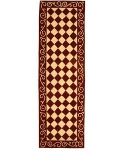 Safavieh Hand-hooked Diamond Burgundy/ Ivory Wool Runner (2'6 x 12')