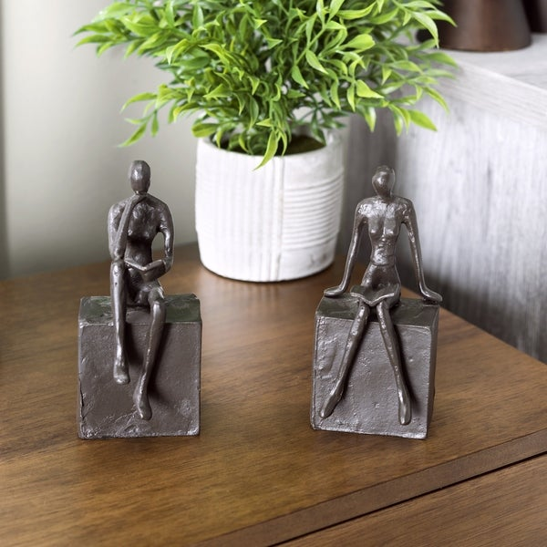 Danya B. Man and Woman Reading on a Block Cast Iron Bookend Set