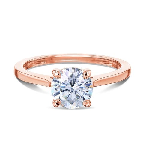 Annello by Kobelli 14k Gold 1ct Forever One Round Moissanite Taper Shank Cathedral Basket Prong Solitaire Engagement Ring